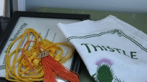 Naren's tassel from Wayne State and a wall hanging from my semester abroad.