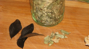 Fresh and dried curry leaves.
